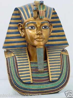 "ANCIENT EGYPTIAN LARGE 19"" King Tut Bust 19""H  Ornate Decorative Collectible"