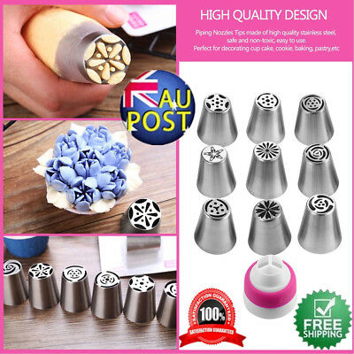 10Pcs Russian Tulip Rose Stainless Steel Icing Piping Nozzle Tip Baking Tool AUS