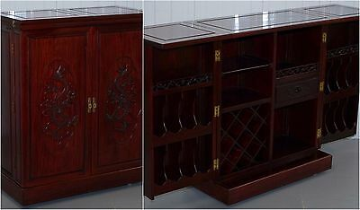 Stunning Solid Rosewood Dragon Carved Chinese Fold Out Drinks Cabinet Sideboard