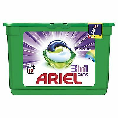 Ariel 3-in-1 Colour Liquitabs Bio Washing Detergent Cleaning Pods - 19 Washes