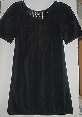 """NWT JUICY COUTURE Black """"Angel Knotted Emb"""" Lace S/S Cotton Dress Boho - Sz: 2"""