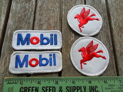 Lot of 4 Vintage Mobil Oil / Gas / Pegasus Embroidered Patches