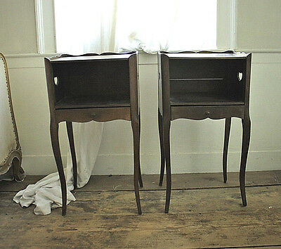 Pair of French Fruitwood Bedside Tables With Hearts