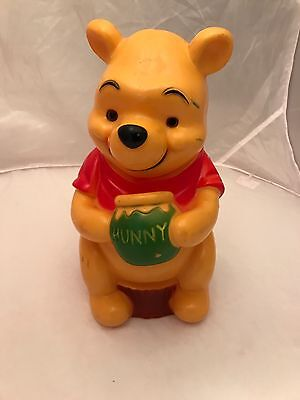 """1970'S Vintage Winnie The Pooh Plastic Piggy Bank Money Coin 11"""" TALL"""