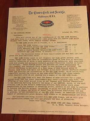 The crown And Cork Seal Co. Baltimore U.S.A Letterhead 1914
