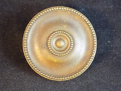 "Vintage Ornate Brass and steel Drawer Pull w/ raised circular design 3/16"" post"
