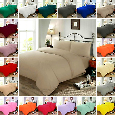 Cotton Blend Plain Duvet Cover Bedding Set & Pillowcase double king single