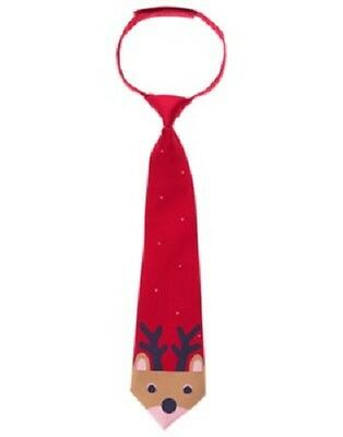 Gymboree Red Christmas Holiday Reindeer Tie for Toddler Boys Size 2T - 5T NEW