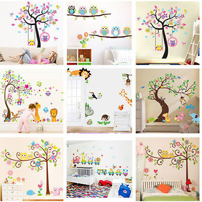 animals tree monkey removable kids wall decal stickers owls and swirly tree nursery kids removable wall vinyl