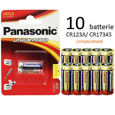 10 Pile Batterie Panasonic Cr123A 3V Litio Lithium Power Dl123A Cr17345
