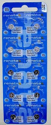 RENATA SWISS MADE 377 SR626SW x 10 pcs WATCH BATTERIES exp: 10/2020 or later