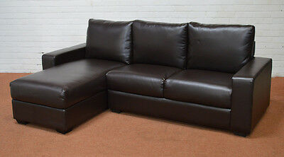 Clearance - Oslo Leather Storage Corner Sofa - Brown - T3700