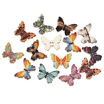 20 Wooden Novelty Butterfly Buttons, sewing,card making, crafts 25 x 18mm