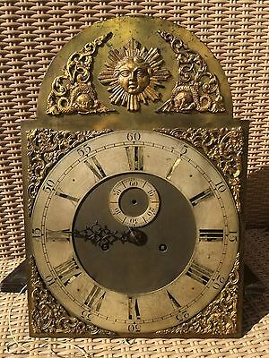 Victorian brass diai and associated movement for longcase clock