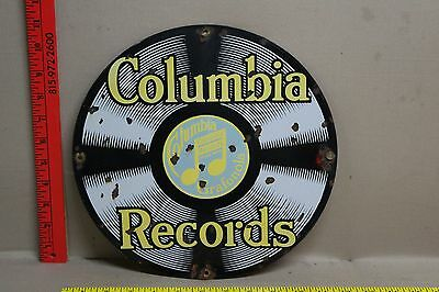 Vintage Columbia Records Porcelain Sign Gas Oil Grafonola