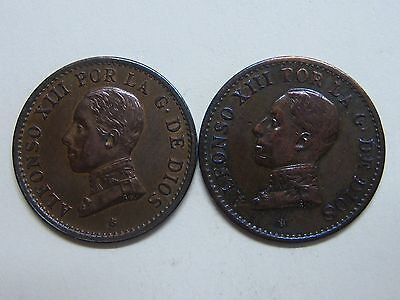 1912-1913 1 Centimo Alfonso Xiii Lote 2 Copper Spanish Spain