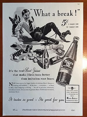 1937 HIRES ROOT BEER Print Ad - Boy, Roller Skates, Scottish terrier