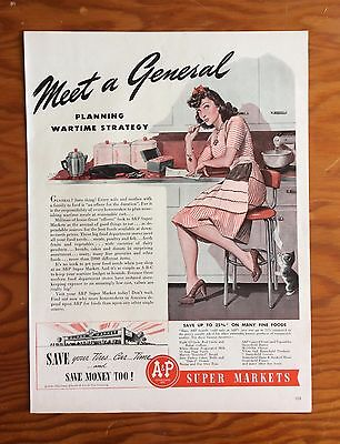 "1942 A & P Super Market Print Ad, ""Meet a General"", Wife planning meals"