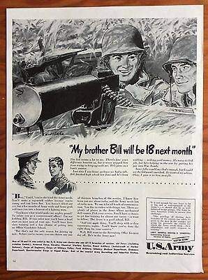 "1942 U.S. ARMY Print Ad, ""My brother Bill will be 18 next month"", Nice Art!"