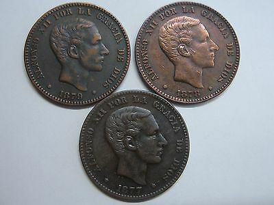 1877-1878-1875 10 Centimos Alfonso Xii Lote 3 Copper Spanish Spain