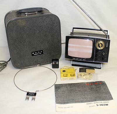 SONY MICRO TV 5-303W Mini Vintage Television Set w/ Case Manual Earbuds Papers