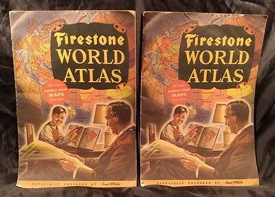 (2) Vintage 1942 WWII ERA Rand McNally & Co. Firestone World Atlas