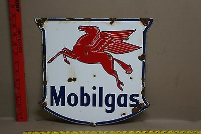Vintage Mobilgas Porcelain Shield Sign Gas Oil Car Truck Service Station