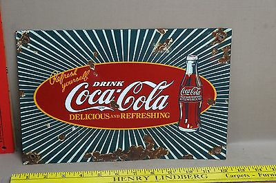 Vintage Drink Coca Cola Porcelain Sign Gas Oil Car Truck Soda Pop General Store