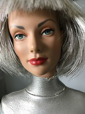"""Tonner 16"""" Vinyl Doll in Ensemble w/ Black Wig + Stand >Outfit has flaws on neck"""