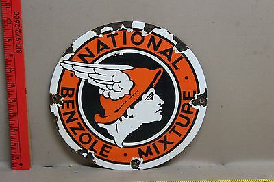 Vintage National Benzole Mixture Porcelain Sign Gas Oil Car Truck Station