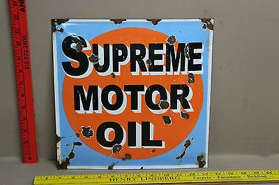 Vintage Gulf Supreme Motor Oil Porcelain Sign Gas Oil Car Truck Station