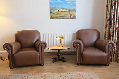 Pair Antique Leather Armchairs Restored And Reupholstered