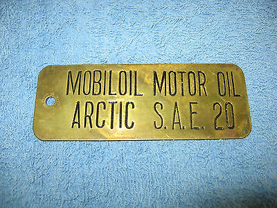 Vintage Brass Mobiloil Motor Oil Lubster Tag, Arctic S.a.e. 20,mobil
