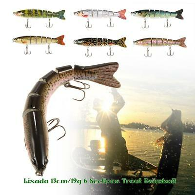 NEW Ideal 6 Jointed Sections Fishing Hard Lure Trout Swimbait Bait Fish Hook