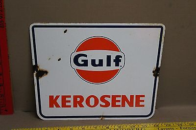 Vintage 2 Sided Gulf Kerosene Porcelain Sign Gas Oil Car Truck Station Service