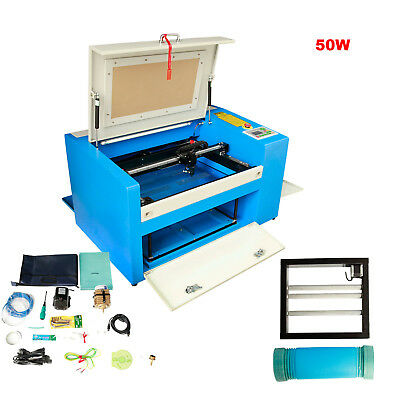 50W CO2 Laser Engraving Machine Engraver Cutter USB Port with Auxiliary Rotary