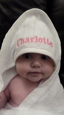 NEW Personalised Embroidered Baby Hooded Towel