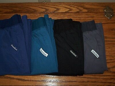 Women's Medium Cherokee Scrub Pants Navy Caribbean Black Pewter Elastic Waist