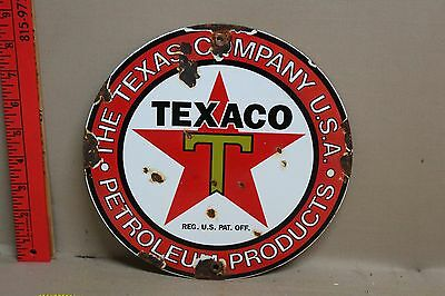 Vintage Texaco Petroleum Products  Porcelain Sign Gas Oil Service Station