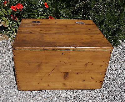 pine trunk, old pine box, vintage French industrial box, coffee table