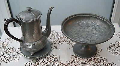 Vintage Arts & Crafts Style Hammered Pewter Tazza Cake Plate, Coffee Pot, Trivet