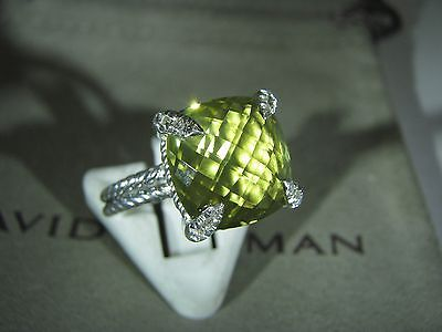 Authentic David Yurman Sil.chatelaine 11Mm  Lemon Citrine Pave Diam Ring Size 7