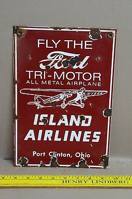 Vintage Ford Tri-Motor Airplane Porcelain Sign Gas Oil Island Airlines Ohio