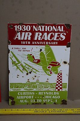 Vintage National Air Races Porcelain Sign Gas Oil Service Airplane Aircraft