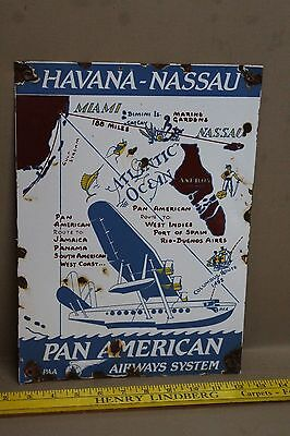 Vintage Havana-Nassau Porcelain Sign Gas Oil Service Airplane Aircraft