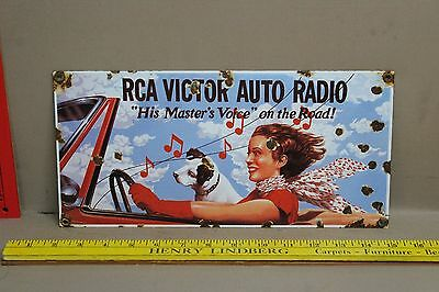 Vintage Rca Victor Auto Radio Porcelain Sign Gas Oil Service Music