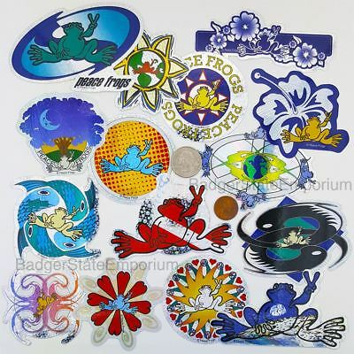 RARE Complete Set - 15 PEACE FROGS Prismatic Color Vending STICKERS Decals Cards