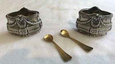 Set Antique French 950 Silver Salt Cellars & Gilt Spoons