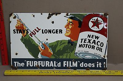 Vintage Texaco Motor Oil Porcelain Sign Gas Oil Service Station Car Truck
