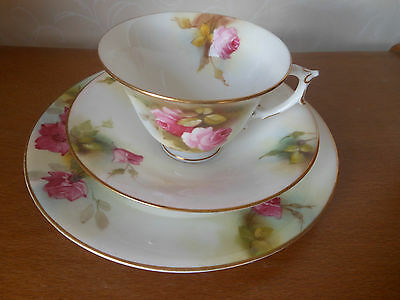 Royal Worcester - Antique Hadley Roses Trio - Cup, Saucer & Side Plate
